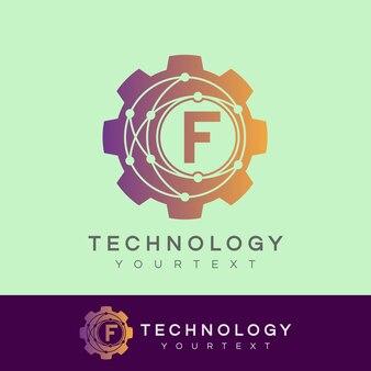 Tecnologia iniziale lettera f logo design
