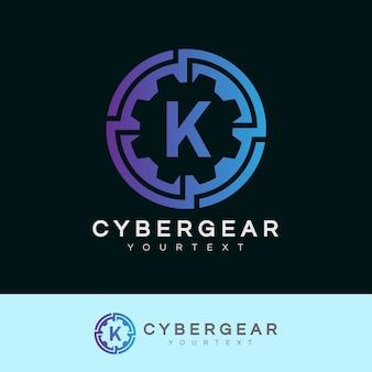 Tecnologia iniziale lettera k logo design