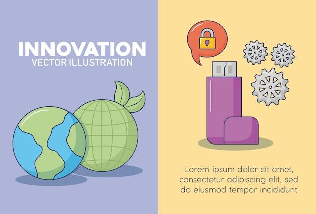 Ilustration di vettore dell'icona di progettazione dell'innovazione e di tecnologia