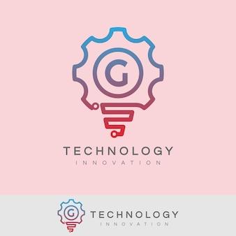 Innovazione tecnologica iniziale lettera g logo design