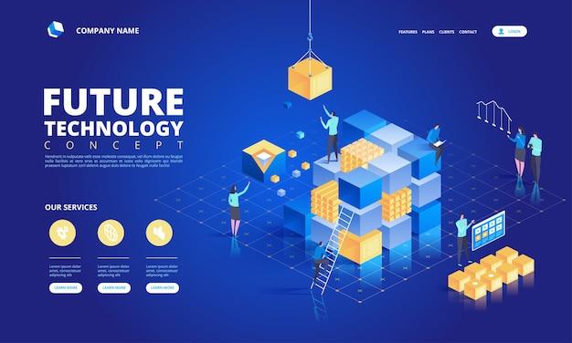 Concetto isometrico di tecnologia. illustrazione di alta tecnologia futura astratta