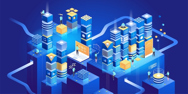 Concetto isometrico di tecnologia. gestione della rete dati.