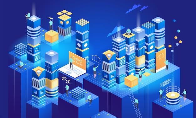 Illustrazione di concetto isometrico di tecnologia