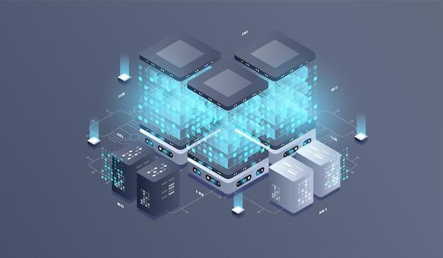 Illustrazione isometrica di tecnologia del computer quantistico.