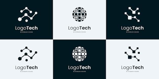 Collezione di logo di tecnologia. modelli di design del logo tecnico