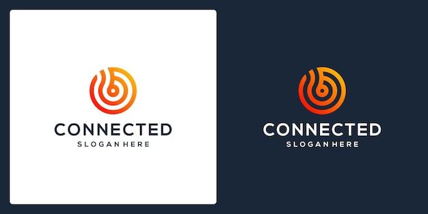 Logo della tecnologia collegato al monogramma della lettera iniziale b. vettore premium