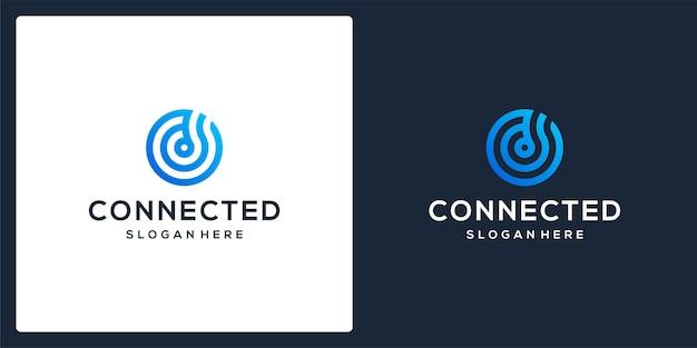 Logo della tecnologia collegato al monogramma della lettera iniziale d. vettore premium
