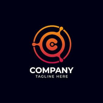 Tecnologia logo design vettoriale, computer e dati relativi al business, hi-tech e innovativi