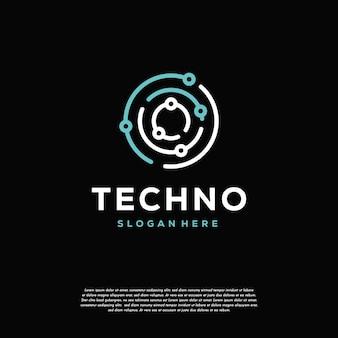 Modello di design del logo tecnologico, modello di simbolo del logo di collegamento