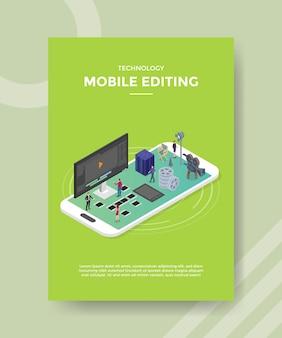 Modello di volantino di editing mobile di tecnologia