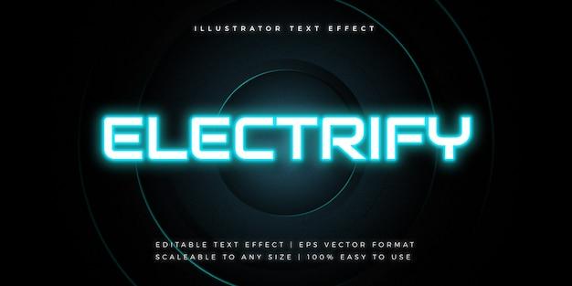 Tecnologia neon light text style effetto carattere