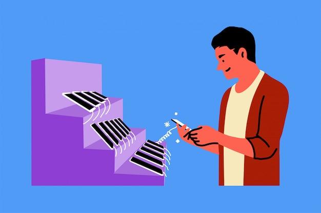 Tecnologia, vendita al dettaglio, shopping, scelta, concetto di telefonia mobile