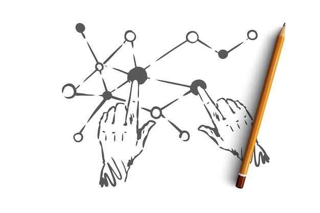 Tecnologia, scienza, comunicazione, digitale, concetto di interfaccia. mani umane disegnate a mano e schizzo di concetto di connessione dello schermo.