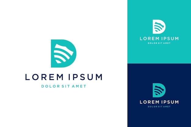 Design del logo di sicurezza tecnologica o monogramma o lettera iniziale d con scudo