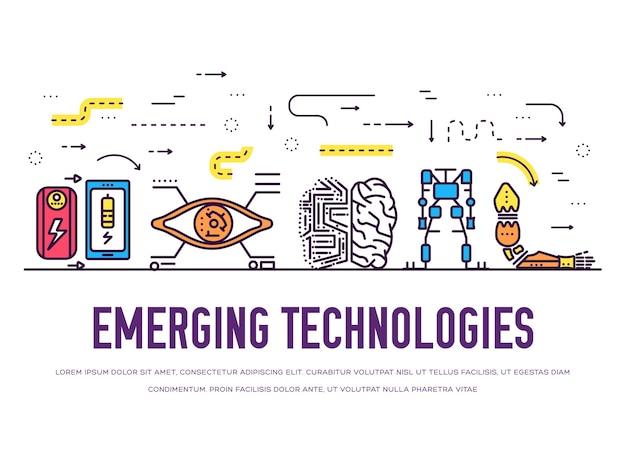 Set di icone di tecnologia sottile linea. pacchetto tecnologico di intelligenza artificiale per l'automazione