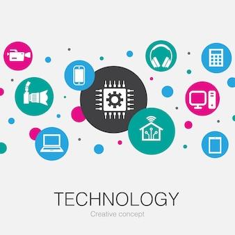 Modello di cerchio alla moda di tecnologia con icone semplici. contiene elementi come casa intelligente, fotocamera, tablet, smartphone