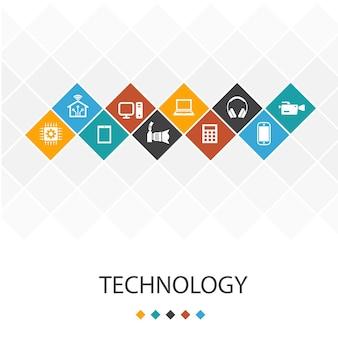 Concetto di infografica modello di interfaccia utente alla moda di tecnologia. casa intelligente, fotocamera, tablet, icone per smartphone