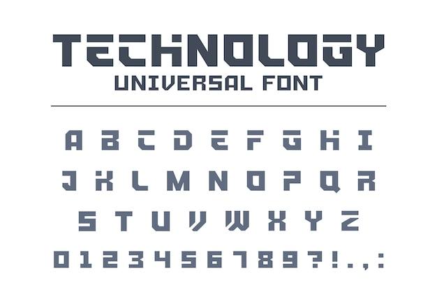 Tipo di carattere universale tecnologia. alfabeto techno forte, sportivo, futuristico, futuro. lettere, numeri composti per logo militare, industriale, auto elettrica. carattere tipografico moderno e minimalista