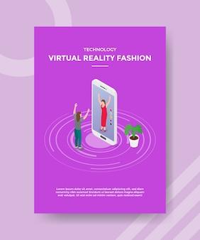 Le donne della moda della realtà virtuale della tecnologia sono uscite dal grande smartphone davanti