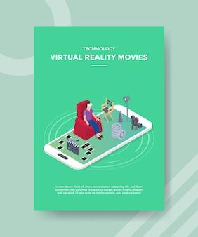 Le donne di film di realtà virtuale di tecnologia che si siedono sul divano usano gli occhiali vr sullo smartphone