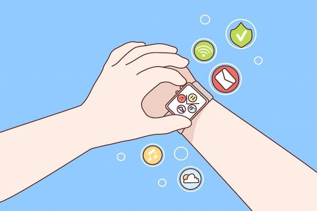 Tecnologia, orologio, gadget, concetto di innovazione