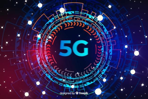 Priorità bassa di concetto 5g arrotondata tecnologica con punti Vettore Premium