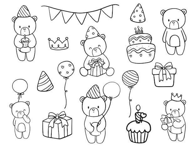 Disegno da colorare di compleanno di orsacchiotto doodle di compleanno di orsacchiotto