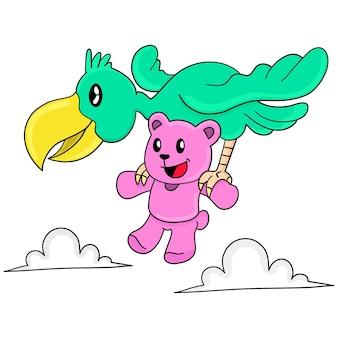 Un orsacchiotto trasportava in volo un pellicano di uccelli. adesivo carino illustrazione dei cartoni animati