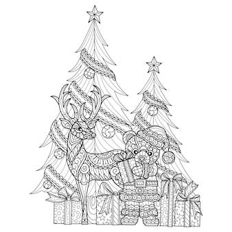 Orsacchiotto e cervi, illustrazione di schizzo disegnato a mano per libro da colorare per adulti.