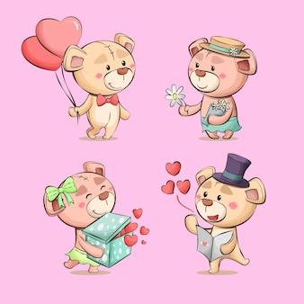 Collezione di illustrazioni disegnate a mano di personaggi carini delle coppie dei cartoni animati di amore dell'orsacchiotto