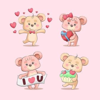 Insieme dell'illustrazione disegnata a mano dei simpatici personaggi dei cartoni animati delle coppie di amore dell'orsacchiotto