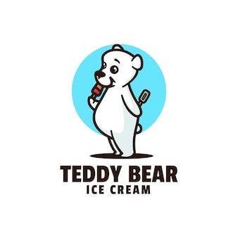 Modello di logo di stile del fumetto della mascotte dell'orso dell'orsacchiotto