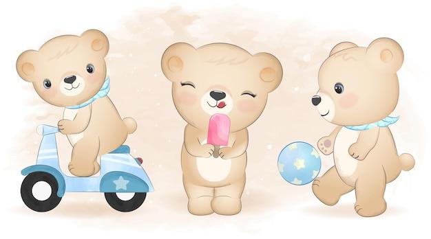 Teddy bear impostare fumetto illustrazione ad acquerello