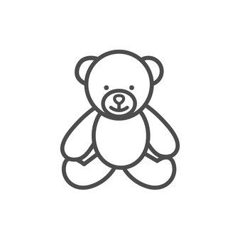 Orsacchiotto giocattolo linea icona vettore isolato su sfondo bianco.