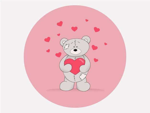 Orsacchiotto con un cuore rosa su sfondo bianco. concetto per carte e congratulazioni.