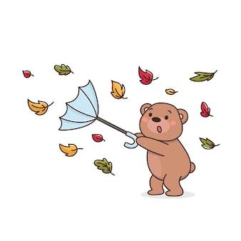 L'orsacchiotto con l'ombrello soffia il vento