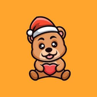 Logo della mascotte del fumetto di natale creativo dell'orso dell'orsacchiotto