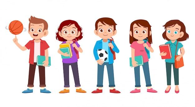 Set di studenti universitari adolescenti
