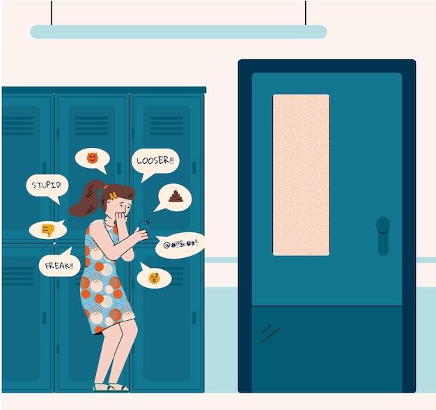 Ragazza adolescente vittima di bullismo verbale o cyberbullismo in piedi nel corridoio della scuola