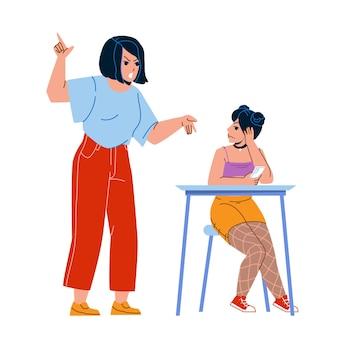 Genitore adolescente urlando alla figlia kid vettore. madre adolescente del genitore che grida alla ragazza, teenager triste che si siede alla tavola con lo smartphone e che esamina la mamma. personaggi piatto fumetto illustrazione