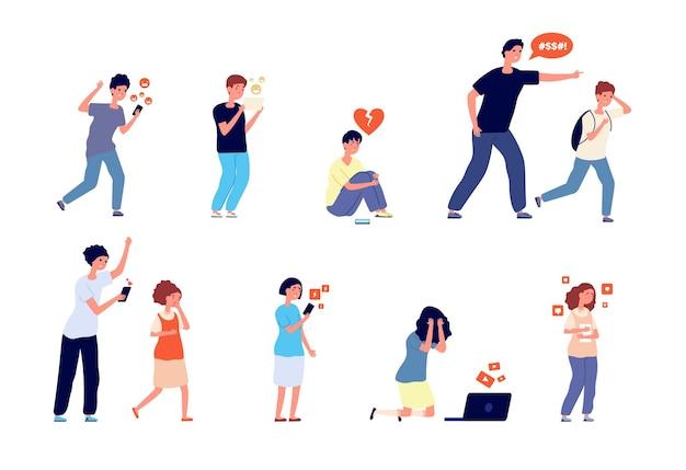 Problemi adolescenziali. problemi di adolescenti, bambini infelici. controllo dei genitori e situazione di ansia emotiva