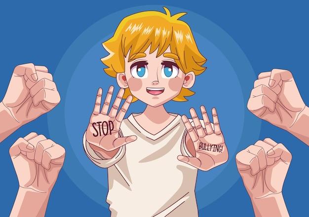 Carattere di anime comico ragazzo biondo adolescente con le mani stoping illustrazione