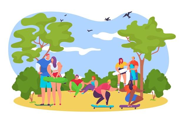 Adolescenti bambini personaggi persone insieme cavalcano skateboard hobby estremo allenamento parco posto piatto ve...