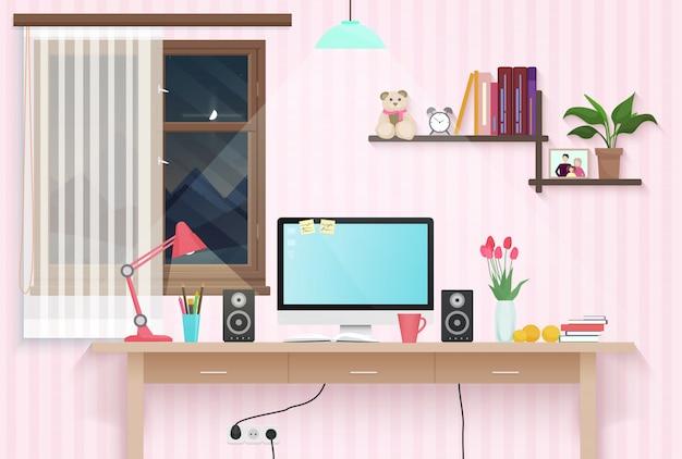 Posto di lavoro femminile della stanza dell'adolescente