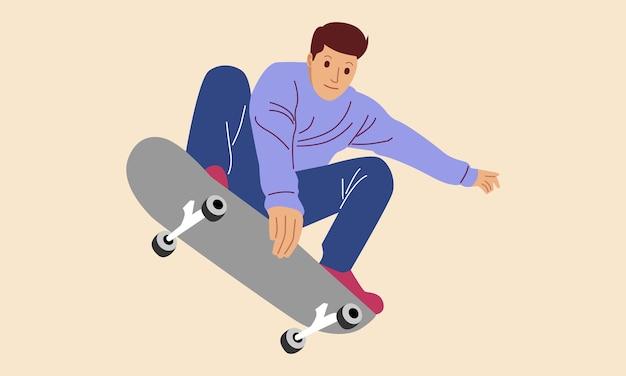 Adolescente che gioca a skateboard