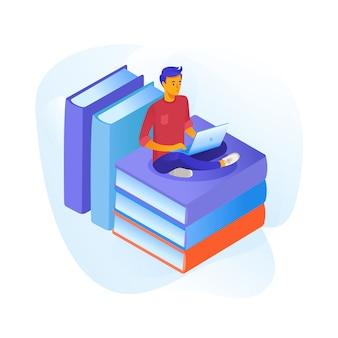 Adolescente studiando fumetto illustrazione. studente in preparazione per gli esami. e-reading, archivio di ebook. allievo che si siede con il computer portatile sulla pila di libri clipart isometrica. apprendimento a distanza, istruzione