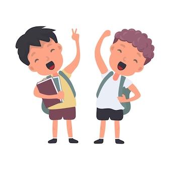 L'adolescente con uno zaino agita la mano. scolaro soddisfatto. adatto per il ritorno a scuola o per le vacanze. isolato. vettore.