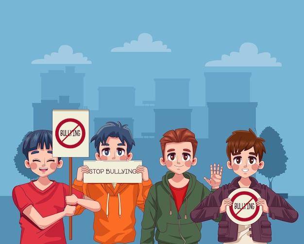 Ragazzi adolescenti che protestano con lettere di stop bullismo nei banner