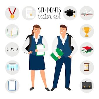 Studenti universitari adolescenti. giovani studenti illustrazione vettoriale, ragazzo e ragazza con abiti scolastici e zaini