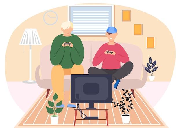 Adolescenti che giocano con il controller del gamepad
